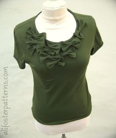 cut the sleeves off of a long-sleeved t-shirt and make bows to embellish the front