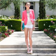 Pink blazer. Shorts. Heels - could work with lilac blazer