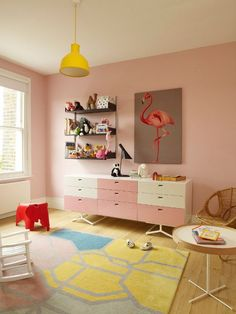 We went a different direction but I like the pale pink with marigold pop of color lamp and flamingo - and the area rug.