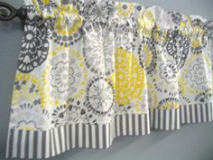 Gray And Yellow Kitchen Valance, Grey U0026 Yellow Floral Valance, Window  Valance, 42 Inches, Window Treatment, Kitchen Valance, Flower Valance By  Thatu2026
