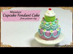 Cute Miniature Cupcake Cake - Polymer Clay Tutorial - YouTube