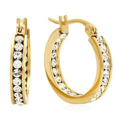 Lady's 18K Gold Plated Stainless Steel Hoop Earrings with Swarovski Elements Crystals by Ben&Jonah -- Awesome products selected by Anna Churchill