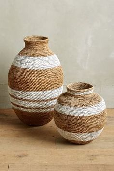 Anthropologie Painted Jute Basket no reason I couldn't do this with a deeper color. Home Decor Accessories, Decorative Accessories, Tadelakt, Interior Decorating, Interior Design, Baskets On Wall, New Furniture, Basket Weaving, Home Collections