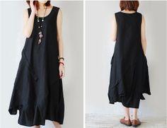 new 2014 cotton linen dress sleeveless maxi skirt by loosedress, $76.00