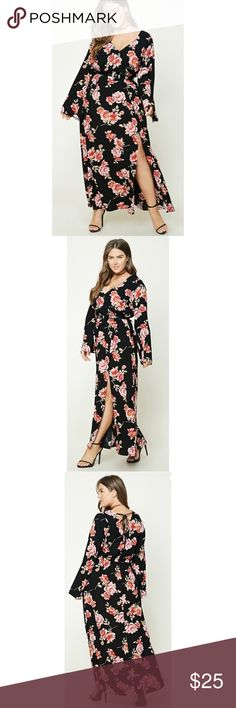 "🌹 Floral Maxi Dress 🌹 A Woven Maxi Dress Featuring An Allover Floral Print, A Surplice Neckline With A Snap Button, An Elasticized Waist, A V-Shape Back With A Lace-Up Detail, Long Bell Sleeves, And An Asymmetrical Front Slit. 🌸 • Full Length: 62.5"" 🌸 • Chest: 44"" 🌸 • Waist: 33.5"" 🌸 • Sleeve Length: 27.5"" 🌸 • Slit Length: 24.5"" Dresses Maxi"