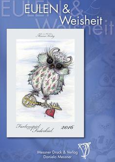 Eulenkalender 2016, Wandkalender, 40 x 32cm von kunstpause auf DaWanda.com