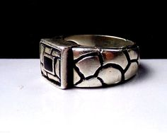 Mexican Sterling Silver Dot Pebble Black Onyx 925 Band Mexico Signed Size 8 Ring #Asshown #Solitaire