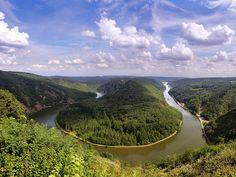 The river Saar has dug itself deep into the bedrock of Saarland -  Mettlach, Saarland, Germany