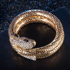 Cool Retro Punk Style Stretch Curved Snake Bracelet with Crystal for Girls a957aba4929c