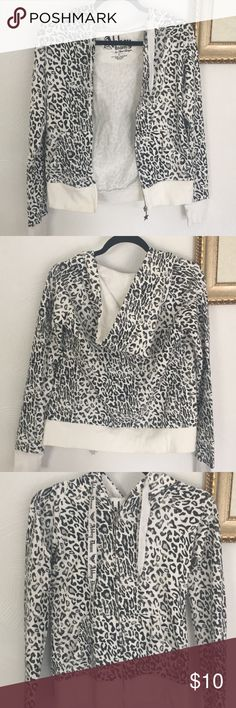 Leopard Print Hooded Jacket Light hooded zip up jacket, worn a few times, stain on front bottom near zipper shown in picture Abbey Dawn Jackets & Coats Abbey Dawn, Front Bottoms, Hooded Jacket, Bell Sleeve Top, Hoods, Zip Ups, Hooded Bomber Jacket, Cowls, Cooker Hoods