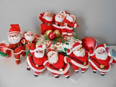 Christmas Felted Santa Lot of 10 Vintage Retro. $20.00, via Etsy.