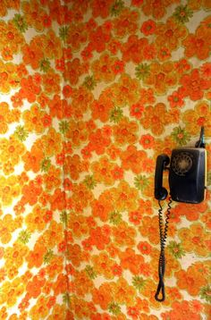 I wish my 70's apartment still had the wallpaper and the phone. Jeje