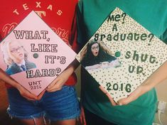 Dee and I showing our alter egos on our grad caps. Can you guess which one's min… Dee and I showing our alter egos on our grad caps. Can you guess which one's mine? Funny Graduation Caps, Graduation Cap Designs, Graduation Cap Decoration, Graduation Diy, High School Graduation, Graduation Photos, Graduation Announcements, Graduation Invitations, Funny Grad Cap Ideas
