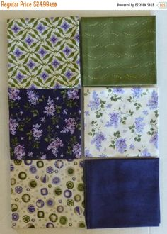 BLACK FRIDAY SALE Cotton Fabric,Quilt~Fresh Lilacs~Group #3~by Maywood Studio~Fat Quarter Bundle of 6~Fast Shipping Fq389