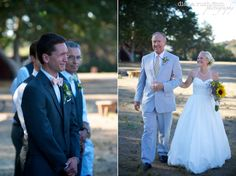 Groom's reaction/bride walking down. Cute combo pic.