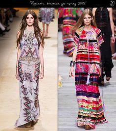 Bohemian fashion spring 2015 Etro and Roberto Cavalli,