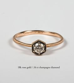 Satomi Kawakita  Hexagon Ring with Champagne Diamond