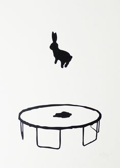 I like the idea of putting an animal that hops on a toy that is meant to bounce. Also the simplicity and roughed edges of everything create an appeal that would not have happened if the strokes were clean. Art And Illustration, Building Illustration, Rabbit Art, Bunny Art, Funny Bunnies, Art Graphique, White Art, Black Art, Black White