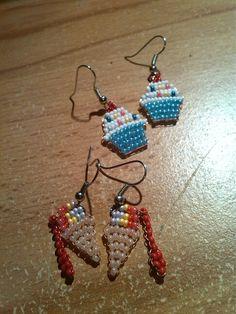 #Beads #earrings #icecream #Cupcake