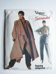 Issey Miyake Coat Vogue 1476 Never Used Pattern FF uncut coat shirt pants Individualist Size 10 Japa Vogue Sewing Patterns, Vintage Sewing Patterns, Coat Patterns, Vintage Vogue, Issey Miyake, Craft, Crochet, Coats For Women, New York