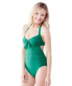 Lands' End Women's Beach Club Halter One Piece Swimsuit Macaw Green | $85