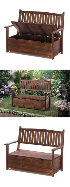 Benches 79678: Garden Bench Patio Outdoor Furniture Seat Yard Deck Porch  Chair Wood Storage Fir