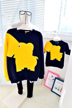 QZZ118 New Winter family look mother and son daughter thick warm sweatshirts cartoon elephant 0 8Y kids family matching clothes