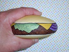 Cheeseburger Deluxe hamburger hand painted rocks by Rockartiste faux food art whimsical Halloween dorm room decor napkin weight gag gift