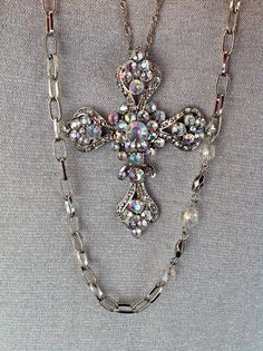 """Rue 21 Silver Toned Long 36"""" Double Chain Necklace w/ Beads & Crystal Cross"""