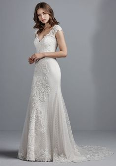 Shop Maggie Sottero Wedding Dresses and find the perfect dress for your big day! Choose from popular bridal styles for any body type like Full length gowns, Lace, Sweetheart and Backless! Sheath Wedding Gown, Gorgeous Wedding Dress, Bridal Wedding Dresses, Bridesmaid Dresses, Wedding Attire, Lace Wedding, Dream Wedding, Wedding Gown Gallery, Sottero And Midgley Wedding Dresses