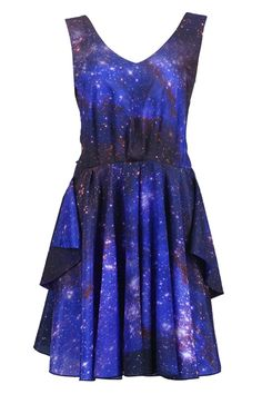 Non-fugly galaxy dress! Who knew such a thing could exist? Does look massively short, though. From #Romwe.