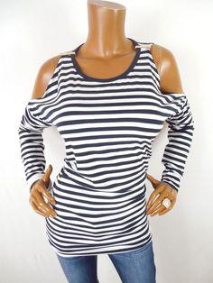 6597e929be33f2 MICHAEL KORS Womens Top M Cold Shoulder Shirt Stretch Blouse Striped Navy  White  MichaelKors