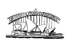 Items similar to Sydney Art Print, Sydney Opera House Art Print, Sydney Harbour Bridge Art Print, New South Wales, Australia on Etsy House Sketch, House Drawing, Desenhos Van Gogh, Tattoo Sydney, Australia Tattoo, Sydney Skyline, Skyline Painting, City Icon, Home Tattoo