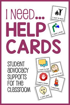 ADVOCACY SUPPORT! Give students an easy non-verbal way to tell someone what they need, or to remember the kinds of help that they can ask for. Great for kids with autism, ADHD and other learning disabilities!