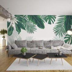 Watercolor Tropical Rainforest Banana Leaves Wallpaper | Etsy Green Leaf Wallpaper, Wallpaper Wall, Custom Wallpaper, Leaves Wallpaper, Bedroom Wallpaper, Tropical Leaves, Tropical Plants, Chinoiserie, Open Wall
