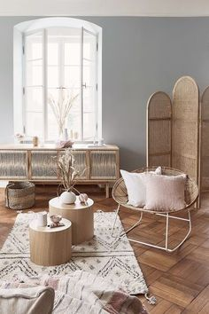 When comfort meets simplicity … Ethnic details, natural materials – rattan armchair, Beni Ourain carpet, mix of cushions give modernity and a natural atmosphere to your interior. Design House Stockholm, Rattan Armchair, Polywood Adirondack Chairs, Boho Decor, Decoration Chic, Scandi Style, Rocking Chair, Home Decor Inspiration, Decor Styles