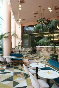pink and marble enliven this restaurant interior design in tel aviv rh pinterest es