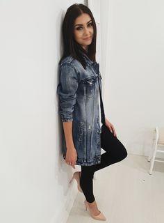 Jeansowa katana SMAGLI long. Ottanta - sklep online Katana, Denim, Jeans, Model, Jackets, Fashion, Lights, Down Jackets, Moda