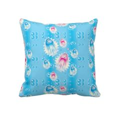 Jelly Fish Kid's Pillow.  Look for more designs at my store.  Designs by DonnaSiggy.  All graphic designs are copyrighted on my products. #pillows  #bedroom  #jelly fish  #pinoftheday #zazzle #gifts #trendy www.zazzle.com/designsbydonnasiggy?rf=238713599140281212