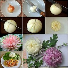 Making onion chrysanthemum yourself - Diyprojectgard - Food Carving Ideas Vegetable Crafts, Vegetable Design, Fruit And Vegetable Carving, Fruit Decorations, Food Decoration, Food Crafts, Diy Food, Food Food, Diy Crafts