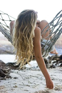 Long wavy hair, hammock and beach. Summer wishlist complete
