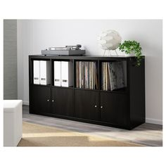 KALLAX Shelf unit - black-brown - IKEA Another more affordable option for our vinyl storage Ikea Kallax Shelf Unit, Ikea Shelves, Ikea Vinyl Storage, Kallax Insert, Ikea Kallax Regal, Living Room Shelves, Selling Furniture, Black And Brown, Sideboard