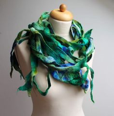 Felted Boa Shawl Fringe Scarf Lariat Sky Blue Cobalt Ultramarine Mint Teal Wool Hand Dyed Winter Accessory Extra Long      Warm and cozy winter
