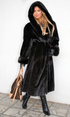 long black hooded mink fur coat | eBay
