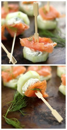 Smoked Salmon and Cream Cheese Cucumber Bites - A quick, light appetizer that takes just minutes to assemble! Always a hit at parties! These will fly off the brunch table. Use bamboo hors d'oeuvres forks to easily serve your guests! http://www.pickonus.com/picks/bamboo-hors-doeuvres-forks/                                                                                                                                                                                 More