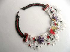 Needle Embroidered Collar Necklace  Vintage Style  by GULDENTAKI, $85.00
