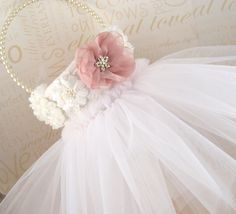 Flower Girl Basket in White Lace Ivory and Blush Pink by SolBijou, $95.00