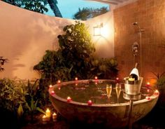 Round Tub with Outdoor Shower and Privacy Wall 48 Awesome Garden Hot Tub Designs | DigsDigs