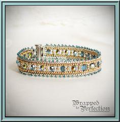 Aqua Gold & Silver Herringbone Bracelet