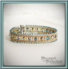 Aqua Gold & Silver Herringbone Bracelet / by WrappedToPerfection, $54.00